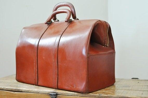 Vintage Top Grain Cowhide Leather Weekender Bag / Doctors Bag