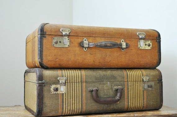 Antique Pair Mismatched Striped Suitcases with Leather Trim
