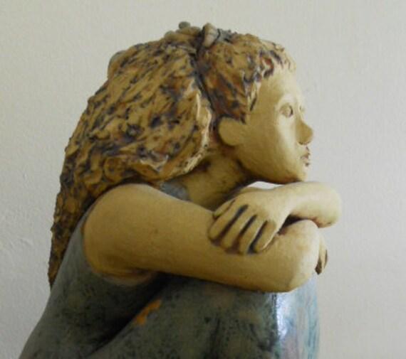 Meditation - ceramic sculpture, woman, female figure