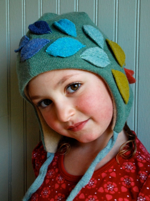 Fall Leaves Eco Cashmere Earflap Hat///Made by Custom Order for Children and Adults