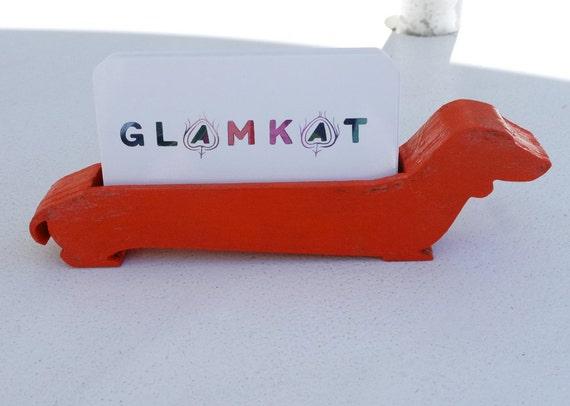 Orange dachshund business card holder by glamkat on etsy for Orange business card holder