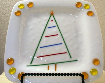 """50% off Holiday plate fused glass Christmas tree decorative tray white green ambers 9"""" square shallow dish Santa treat or serving"""