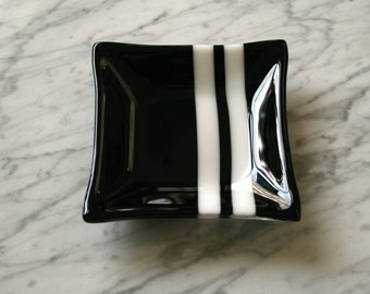 """Black white candleholder bowl fused glass 5"""" sq dish holds coins keys rings earrings soap nuts candy bowl"""