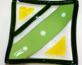 Green key keeper coin dish jewelry bowl, clearance priced fused glass small square candy dish candle stand, inexpensive gift idea