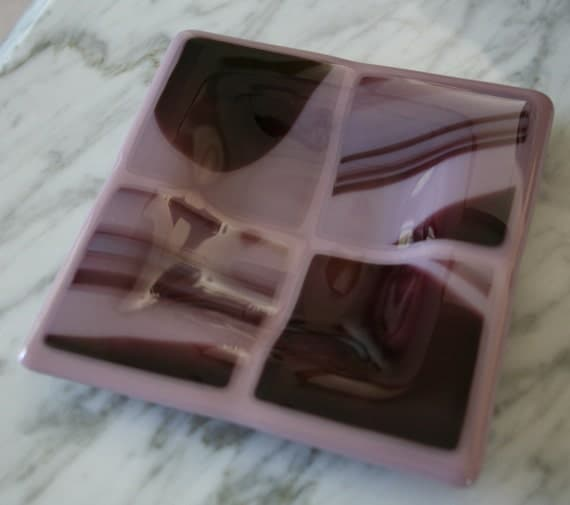 "Orchid mauve ring bowl soap dish, 5"" shallow square light violet purple unique gift idea on SALE"
