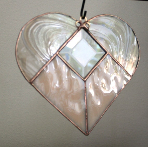 Heart stained glass Valentine art suncatcher, peachy pink champagne swirls w clear bevel center and brass scroll hanger for window hanging