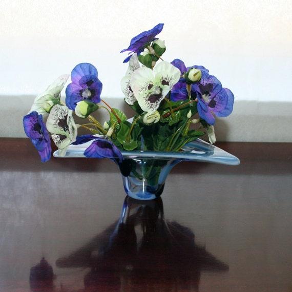"Triangle glass vase SALE fused blackberry blue sparkle candle shelter original OOAK rooting vase tea light holder 7"" across 2"" tall"