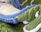 Christmas Sale 50% off Knit Baby Quilt Blanket Blue Green White Free Shipping