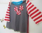 18M - 2T eloise t-shirt grey red stripe ooak