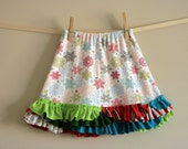 CLEARANCE ruffle skirt or petticoat 3T-4T snowflakes on white with multi ruffles ooak