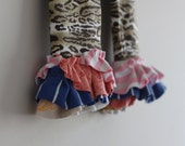 CLEARANCE 5T Ruffle Legging Capri Brown Black Cheetah Upcycle OOAK cropped pants girls