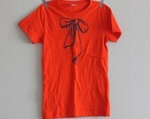CLEARANCE  Tshirt Bow Girls Orange with Blue Handprinted Screenprint Girls Size L t shirt