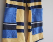 Board Shorts Unisex 4T Yellow and Blue Stripe Upcycle OOAK cropped pants girls or boys huck Finn pants