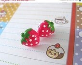 CLOSING SALE - Hot Pink Strawberries - Stud Earrings by berrysweettreats on Etsy