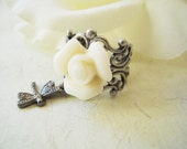 Ivory Rose Dragonfly Ring- Antique Silver- Adjustable