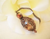 Golden Crystal Pendant Necklace- Antique Brass
