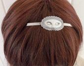 Steampunk Masquerade Mask Headband- Metal Headband- Silver Mask