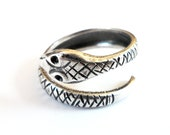 Snake Ring- Steampunk Serpent Ring- Adjustable Sterling Silver Ox Finish