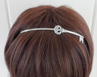 Steampunk Skeleton Key Headband- Metal Headband- Silver- Alice in Wonderland Inspired