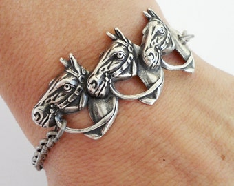 Steampunk Horse Bracelet- Sterling Silver Ox Finish- Three Horses