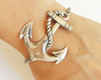 Steampunk Anchor Bracelet- Sterling Silver Ox Finish- Nautical Bracelet- Large Anchor