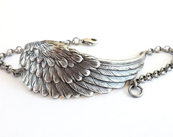 Steampunk Angel Wing Bracelet- Sterling Silver Ox or Antiqued Brass Ox Finish- Large Wing Silver