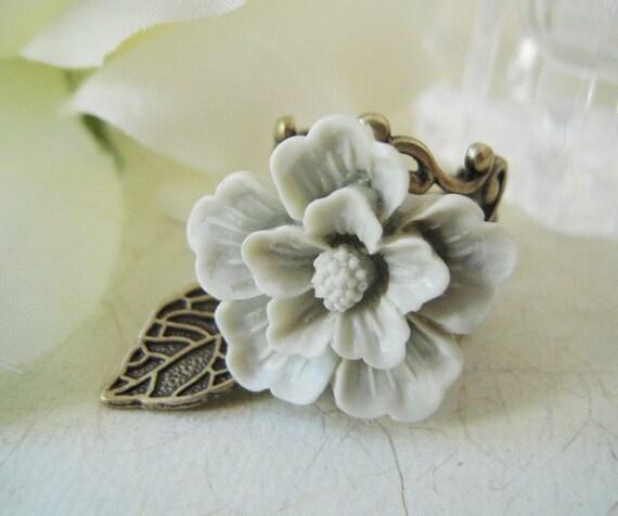 Japanes Blossom Leaf Ring- Antique Brass Adjustable Ring- Last One