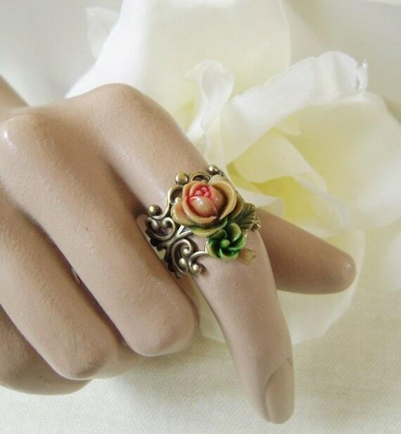 Vintage Rose Ring- Antique Brass- Adjustable- Last One