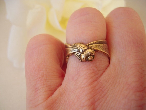 Steampunk Dragonfly Ring- Adjustable- Antique Brass