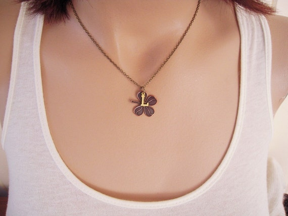 Lucky Necklace- Clover Charm Necklace- Mixed Metals- Last One