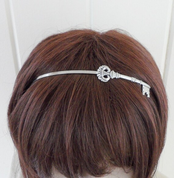 Steampunk Skeleton Key Headband- Metal Headband- Silver- Alice in Wonderland Inspired