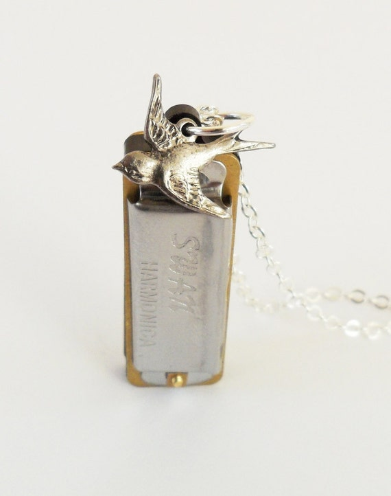 Harmonica Necklace- Harmonica & Bird Necklace- Silver