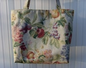 SALE Large Market Tote for Shopping/Crafts Fruit Flowers Fabric