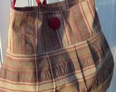 Pleated Shoulder Bag  Crinkled Striped home decor fabric in Mocha - Burgundy