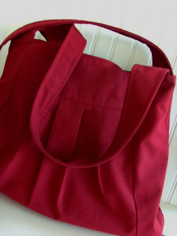 Dark Red Large Shoulder Bag /Diaper Bag Pleated READY to SHIP