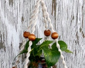 Velvet Cloud Handmade Natural Macrame Plant Hanger- Hanging Basket- Honeycomb