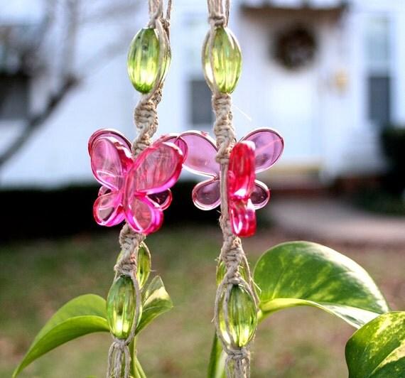Vanessa- Handmade Natural Hemp Double Macrame Plant Hanger- Hanging Basket- Easter- Spring
