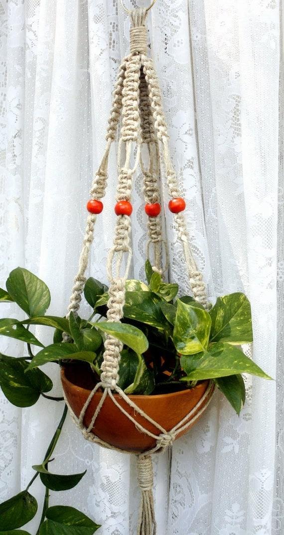 Arancia- Handmade Natural Hemp Macrame Plant Hanger- Hanging Basket- Orange