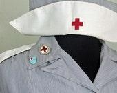 Vintage Gray Lady Service 1950s Red Cross Volunteer Uniform Dress With Cap Lapel Pins Blue Ticking Halloween Costume