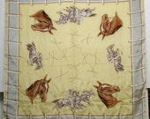 Vintage Horse Equestrian Horse Racing Silk Scarf Yellow and Gray tones Kentucky Derby Time