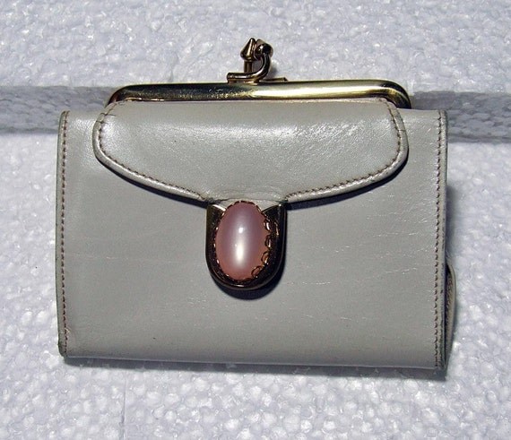 Vintage Kid Leather Bond Street Coin Purse Wallet with Cabachon Stone