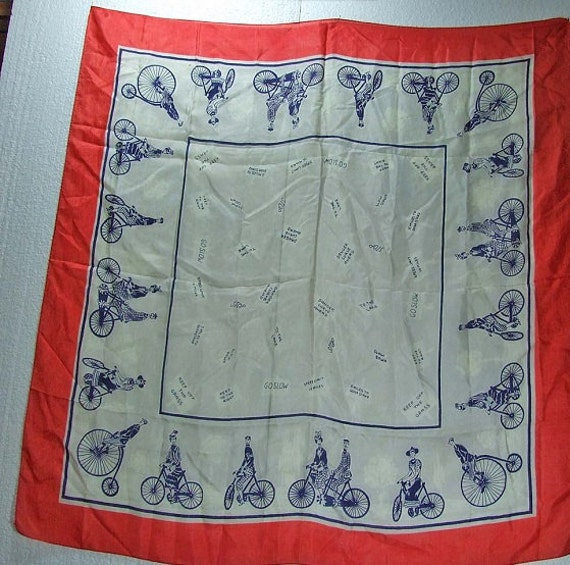 Vintage Silk Antique Bicycle Built for Two Red White Blue Large Scarf