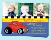 Car Birthday Boy Invitations Racing Blue Printable Party