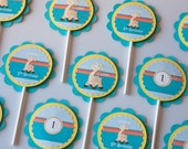 Giraffe Cupcake Toppers Birthday Party set of 12
