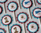 Football Birthday Cupcake Toppers Sports Party set of 12