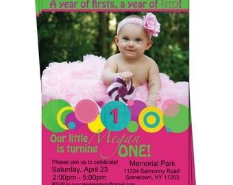 Polka Dot Girl 1st First Birthday Invitation