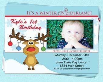 Winter Wonderland Birthday Invitation 1st Christmas Printable Party