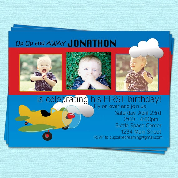 Airplane Birthday Invitation Boy Adventure Up Away By