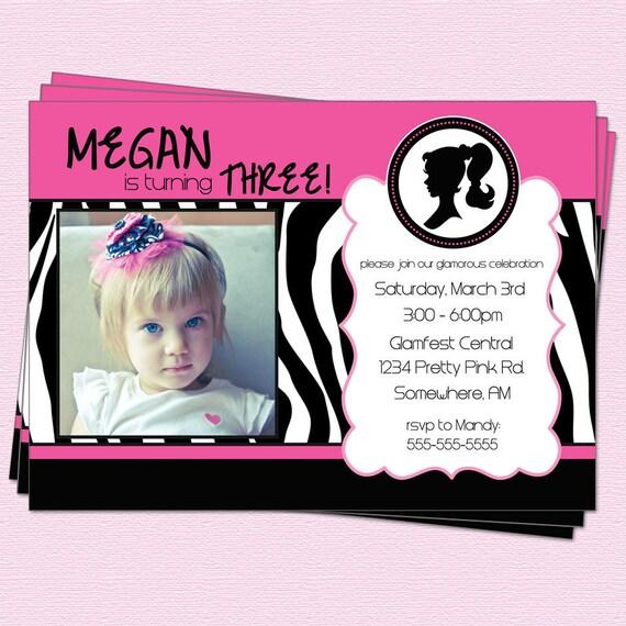 Barbie Zebra Theme 1st And 5th Birthday: Barbie Birthday Invitation Silhouette Party Zebra