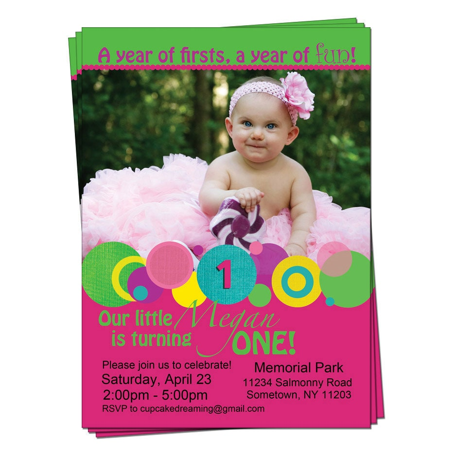 Polka Dot Girl 1st First Birthday Invitation – Polka Dot First Birthday Invitations
